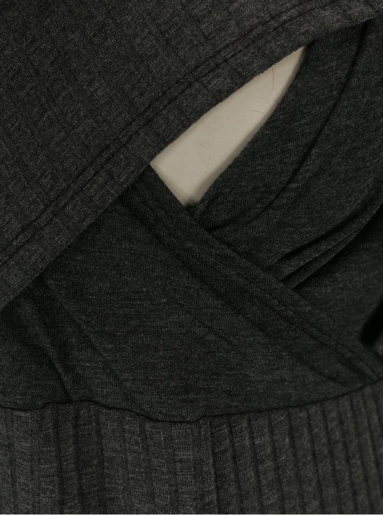 Šedé těhotenské/kojicí žebrované šaty Dorothy Perkins Maternity