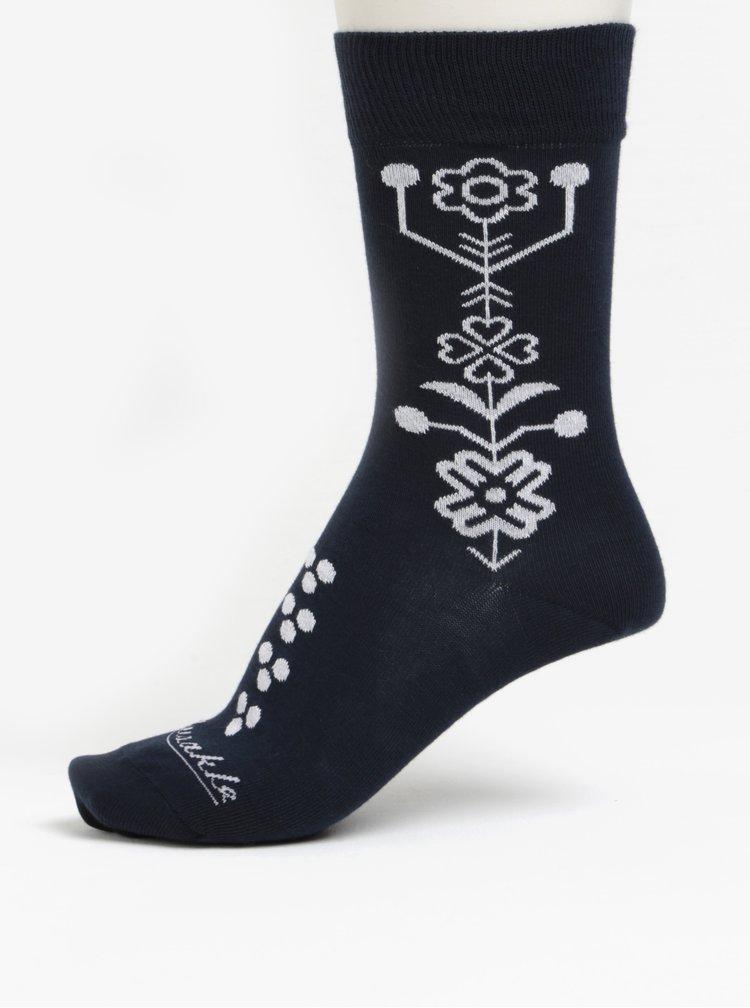 Sada tří párů dámských ponožek v modré barvě a v dárkové krabičce Fusakle Srdiečka
