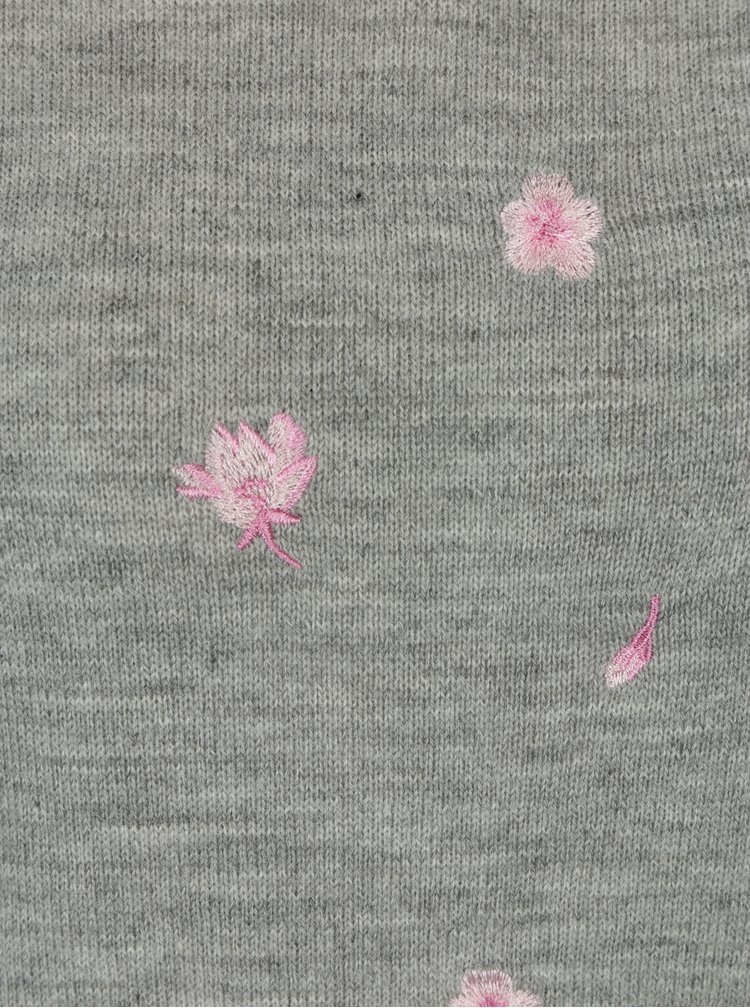 Pulover gri cu model brodat floral - Dorothy Perkins Petite