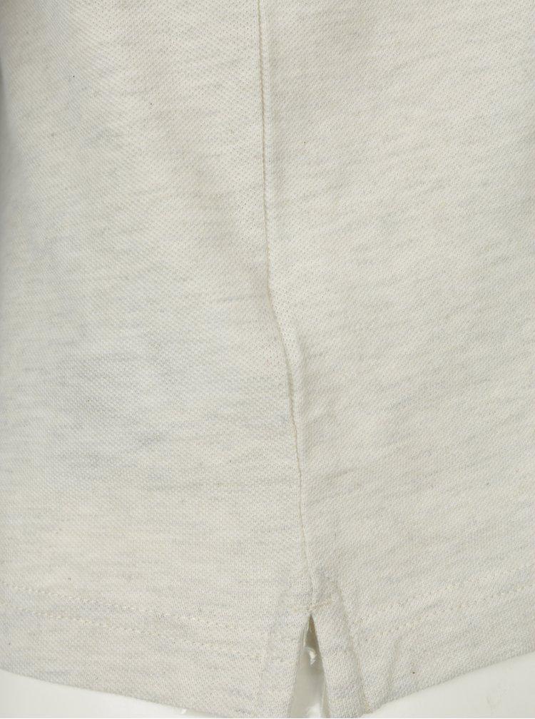 Krémové žíhané polo tričko s dlouhým rukávem Farah Merriweather