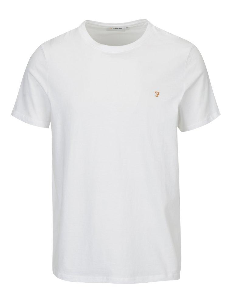 Bílé slim fit basic tričko Farah Denny