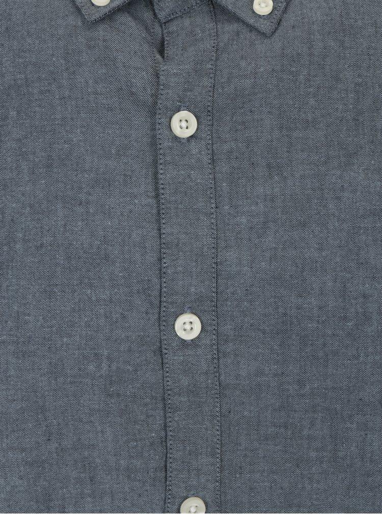 Camasa slim fit albastru melanj cu guler buttons-down Farah Steen