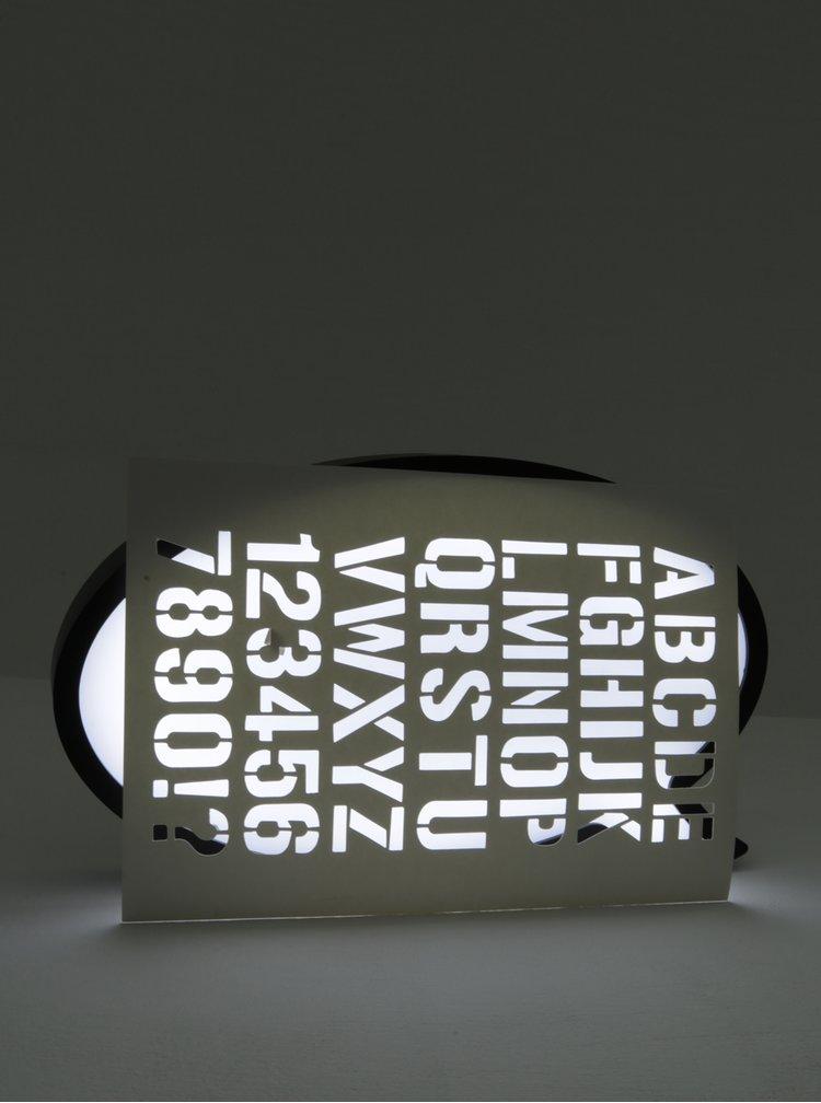 Sada bílé LED tabule s fixou ve tvaru bubliny a šablony písmen SIFCON