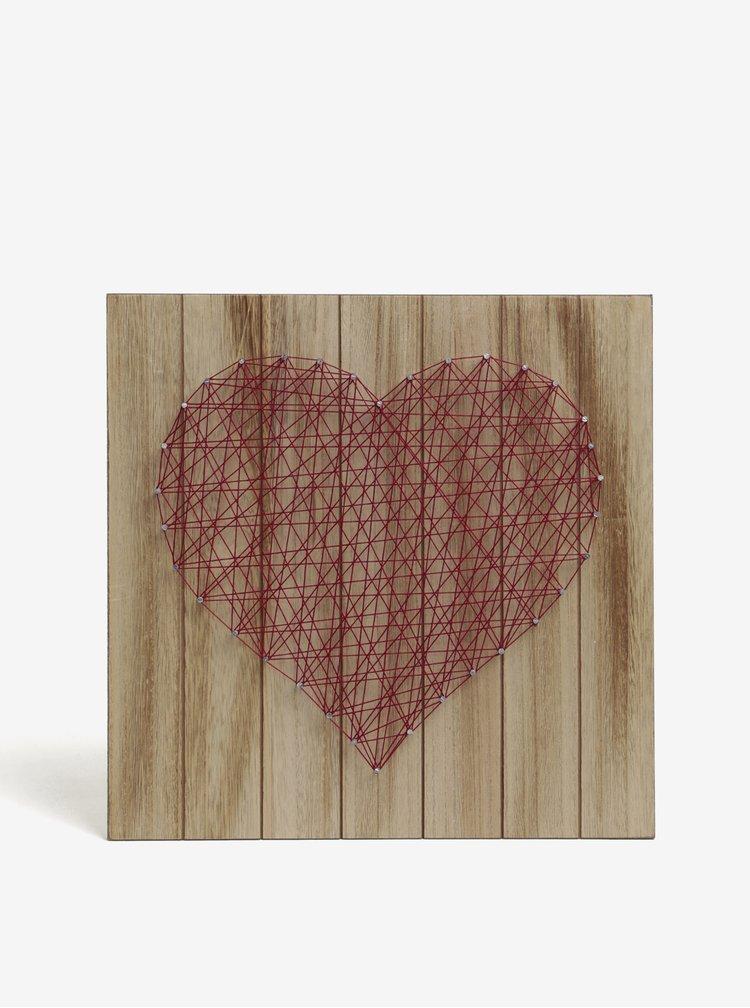 Červeno-hnědá dřevěný obraz s motivem srdce SIFCON