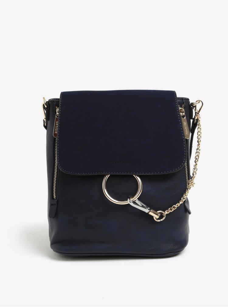 Modrý batoh/kabelka s detailmi v zlatej farbe Bessie London