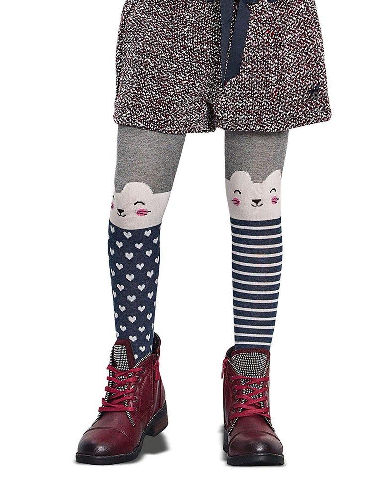 Modro-šedé holčičí punčocháče s motivem koček Penti Kitten