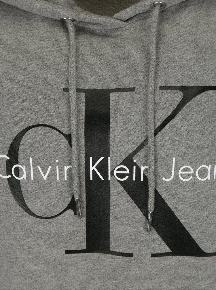 Šedá dámská mikina s kapucí a potiskem Calvin Klein Jeans
