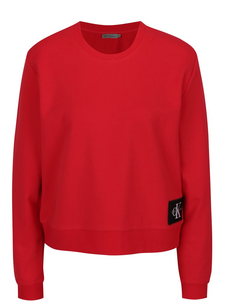 Červená dámská krátká basic mikina Calvin Klein Jeans
