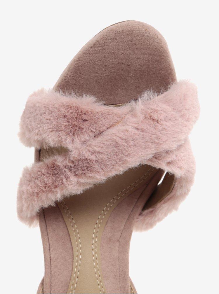 Sandale cu toc cui si blana artificiala roz pal - MISSGUIDED
