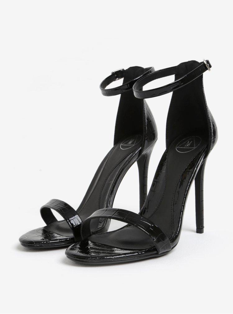 Černé sandálky s hadím vzorem MISSGUIDED
