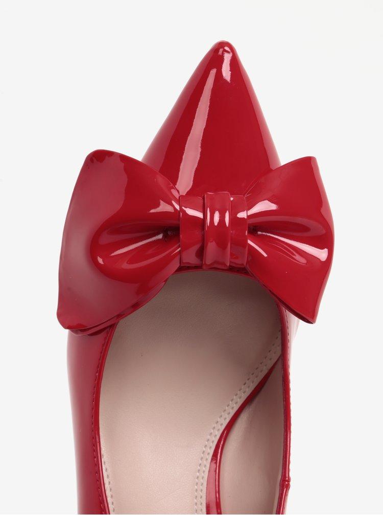 Pantofi rosii cu funda si aspect lacuit Dune London Kitten