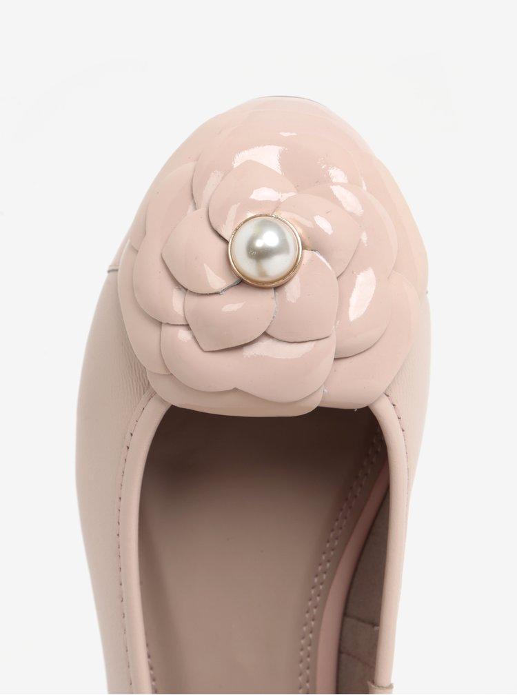 Balerini roz deschis din piele cu floare  Dune London Hyacinth