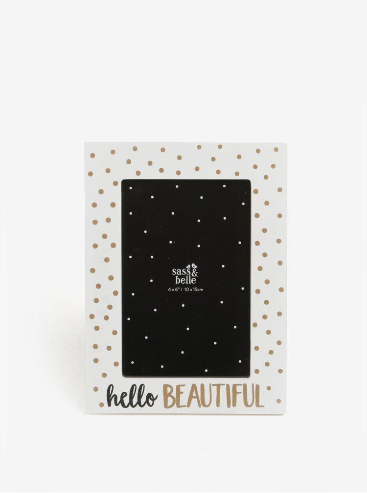 Krémový puntíkovaný fotorámeček Sass & Belle Hello Beautiful