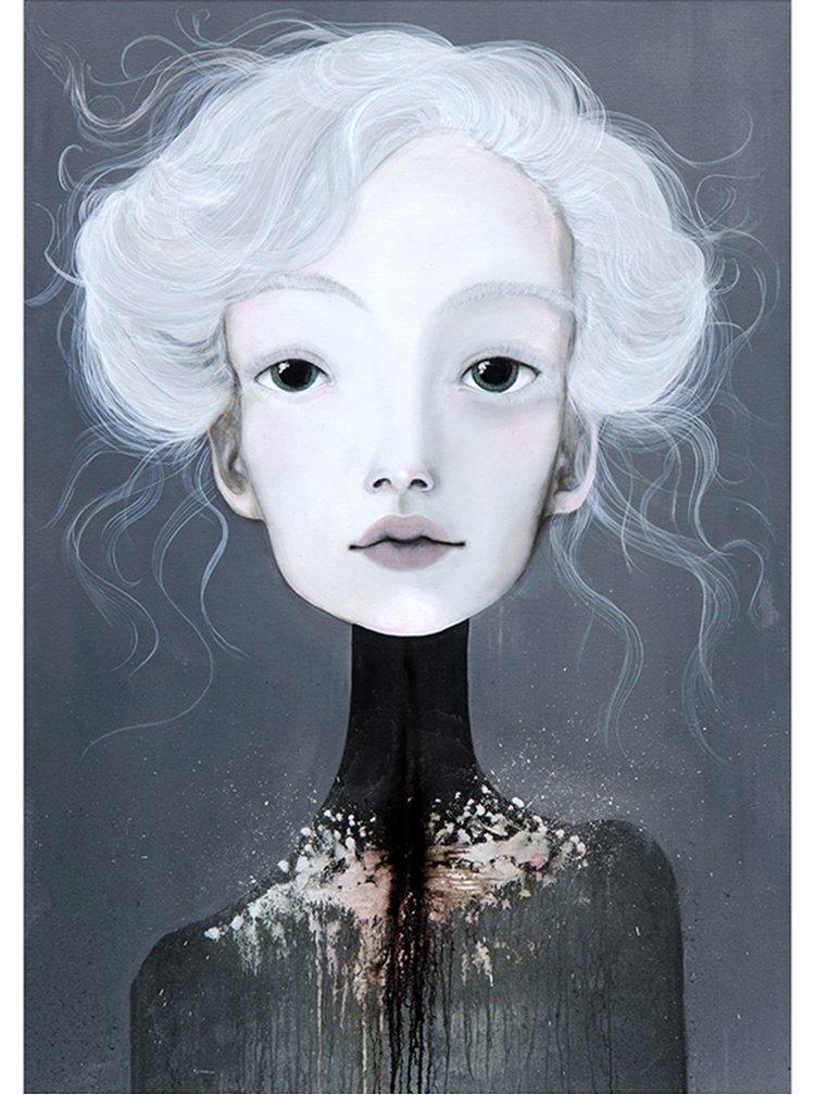 Krémovo-šedý autorský plakát Hlava 2 od Lény Brauner, 50x70 cm