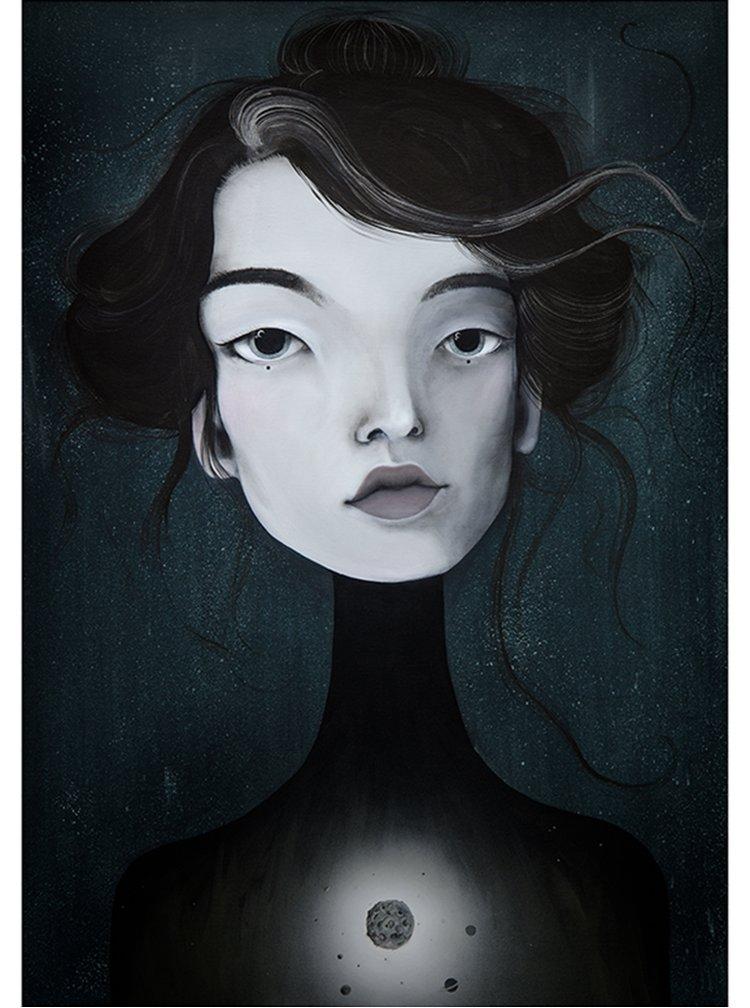 Krémovo-černý autorský plakát Hlava 3 od Lény Brauner, 50x70 cm
