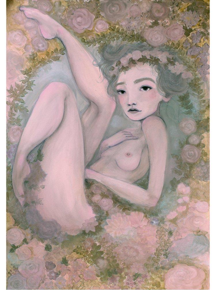 Zeleno-béžový autorský plakát Sebeláska od Lény Brauner, 50x70 cm