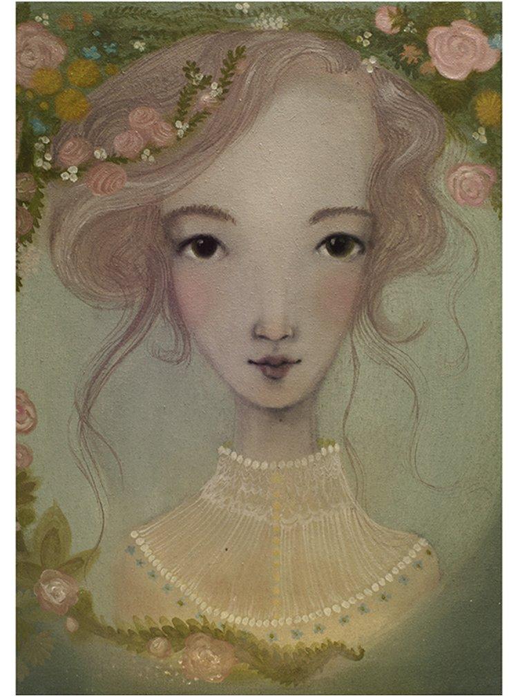 Světle zelený autorský plakát Luční víla od Lény Brauner, 50x70 cm