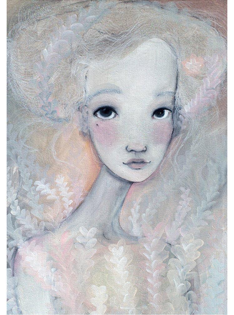 Béžovo-krémový autorský plakát Jitřní od Lény Brauner, 50x70 cm