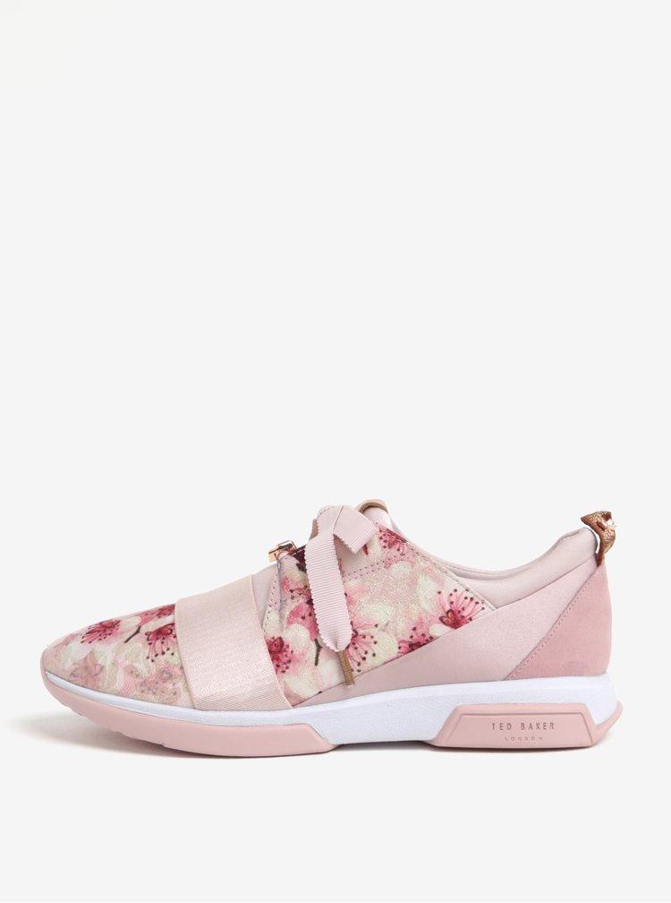 Růžové tenisky s květionvým potiskem Ted Baker Cepap