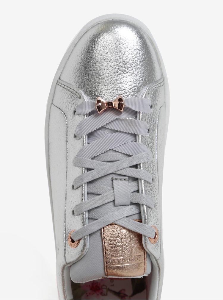 Kožené metalické tenisky ve stříbrné barvě Ted Baker Kellei P