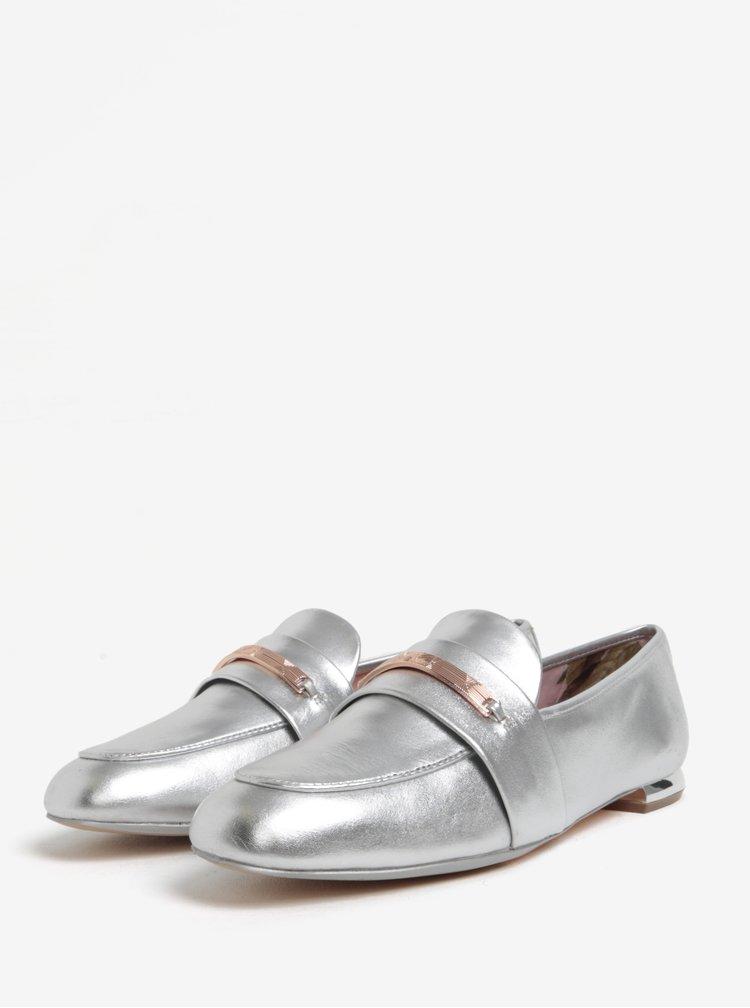 Kožené metalické mokasíny ve stříbrné barvě Ted Baker Eliena