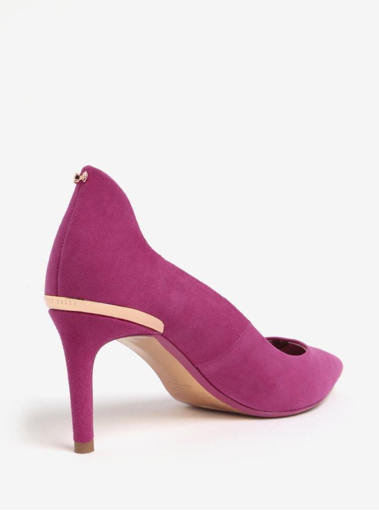 Pantofi roz din piele intoarsa cu detalii metalice Ted Baker Vyixyn S