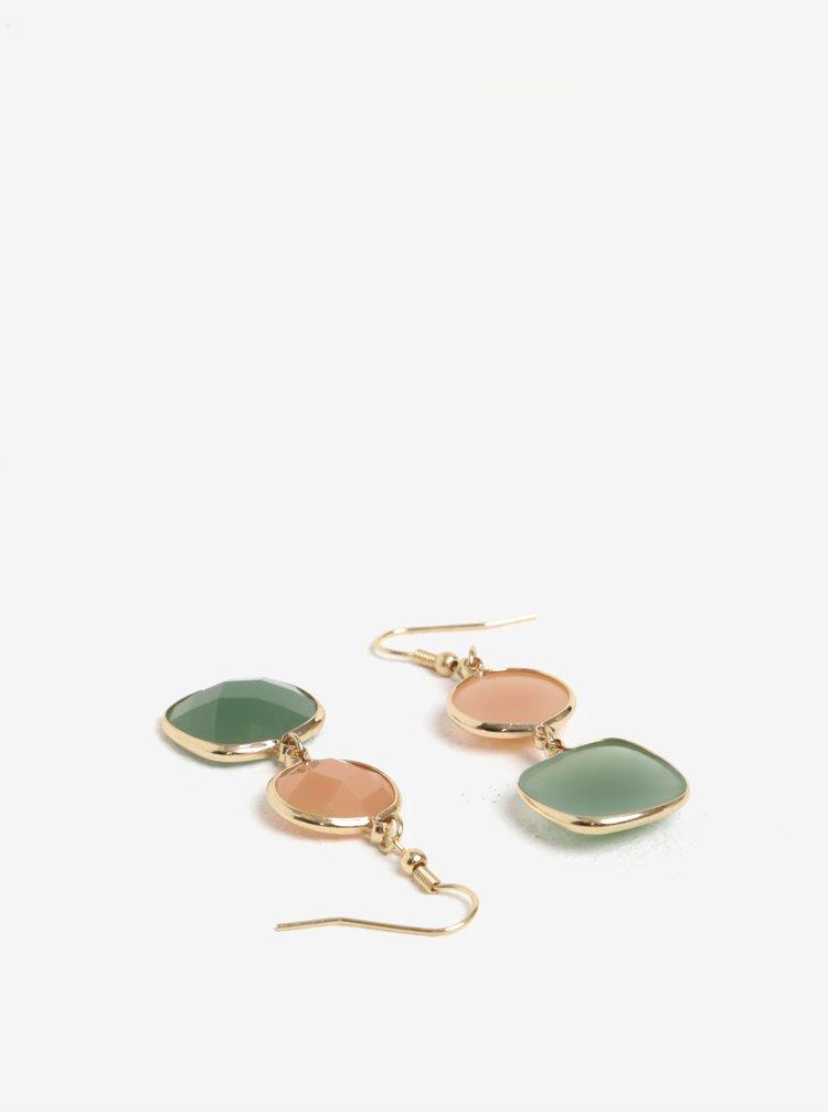 Naušnice ve zlaté barvě se zelenými kamínky Pieces Marley