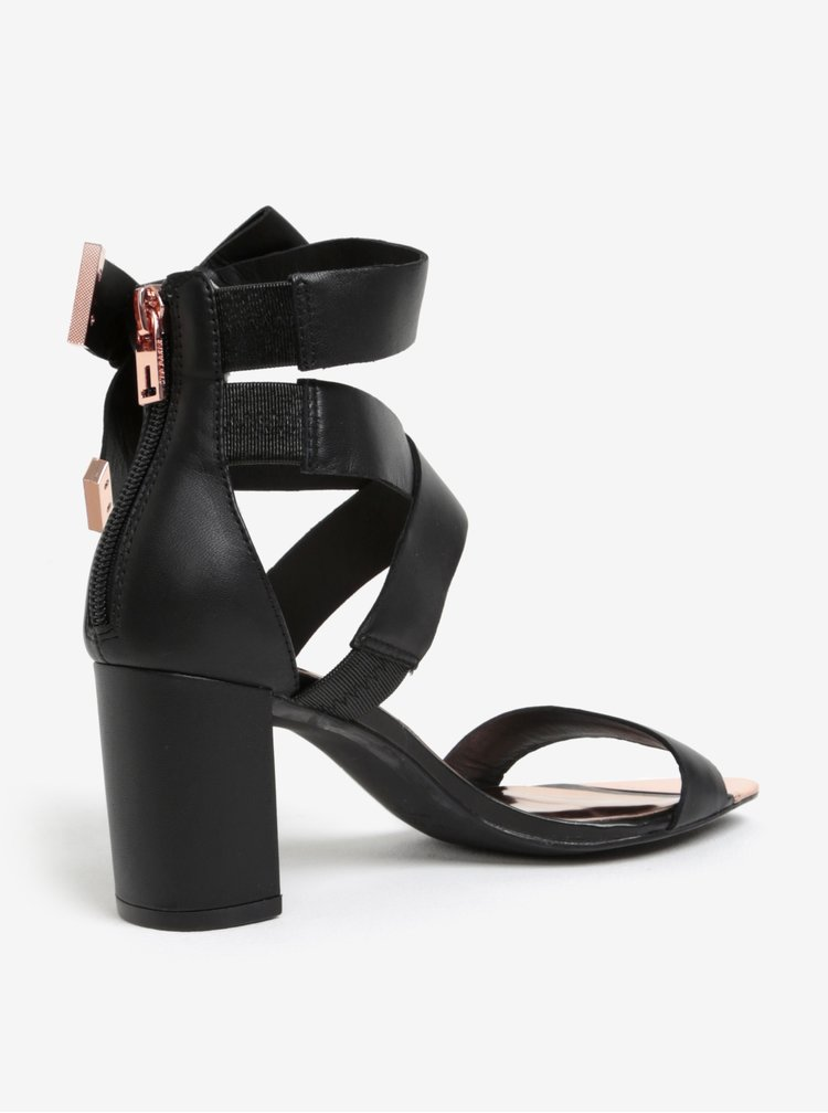 Sandale negre din piele cu barete Ted Baker Peyepa
