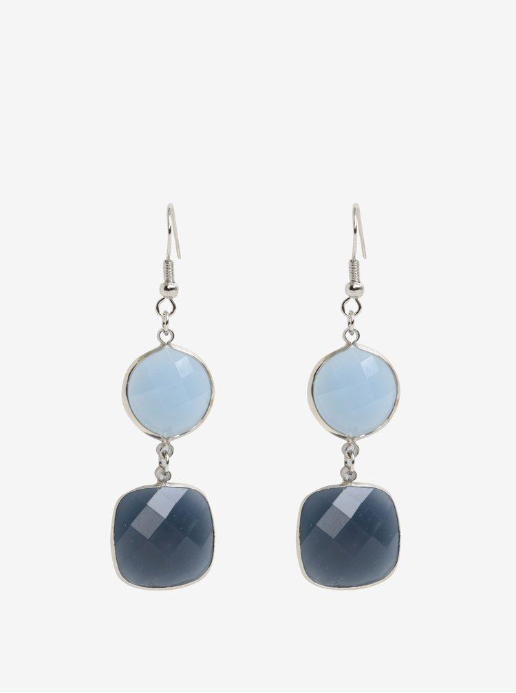 Naušnice ve stříbrné barvě s modrými kamínky Pieces Marley