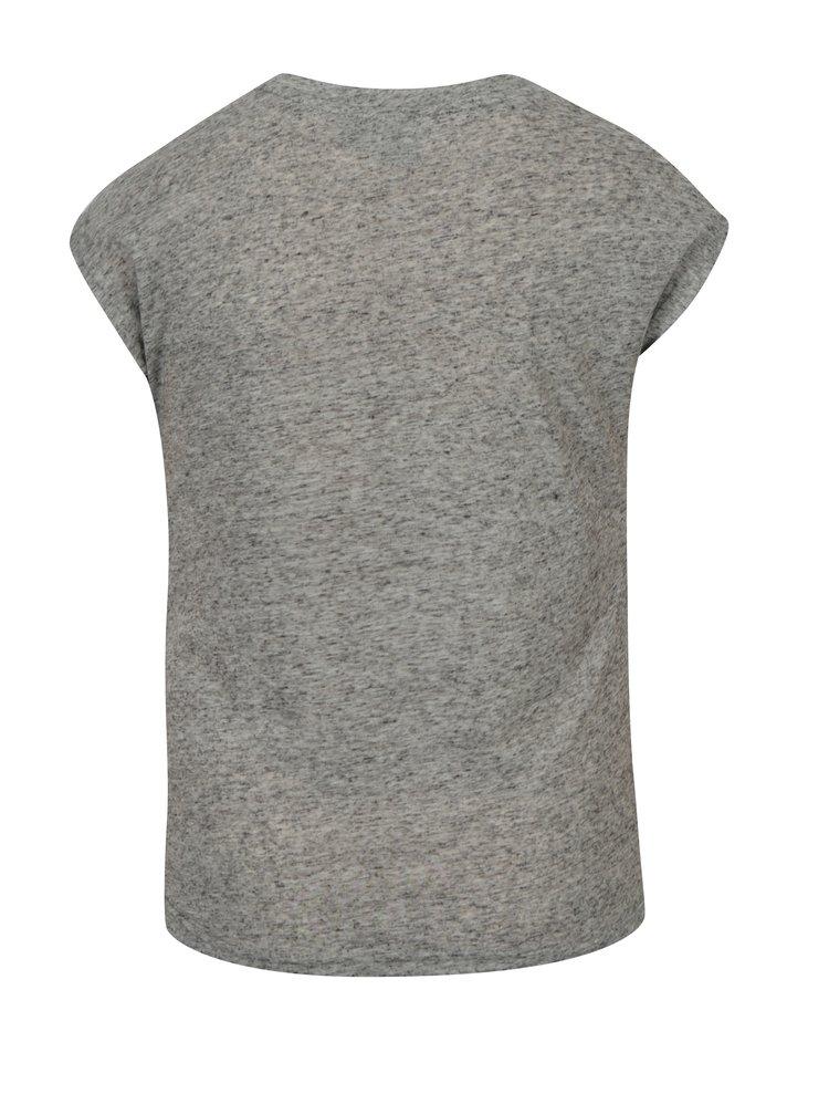 Šedé žíhané holčičí tričko s příměsí lnu LIMITED by name it Noisa