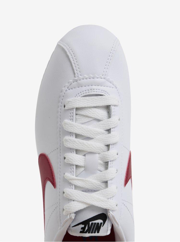 Biele dámske kožené tenisky Nike Classic Cortez