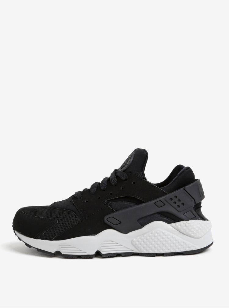 Černé pánské tenisky s bílou podrážkou Nike Air Huarache