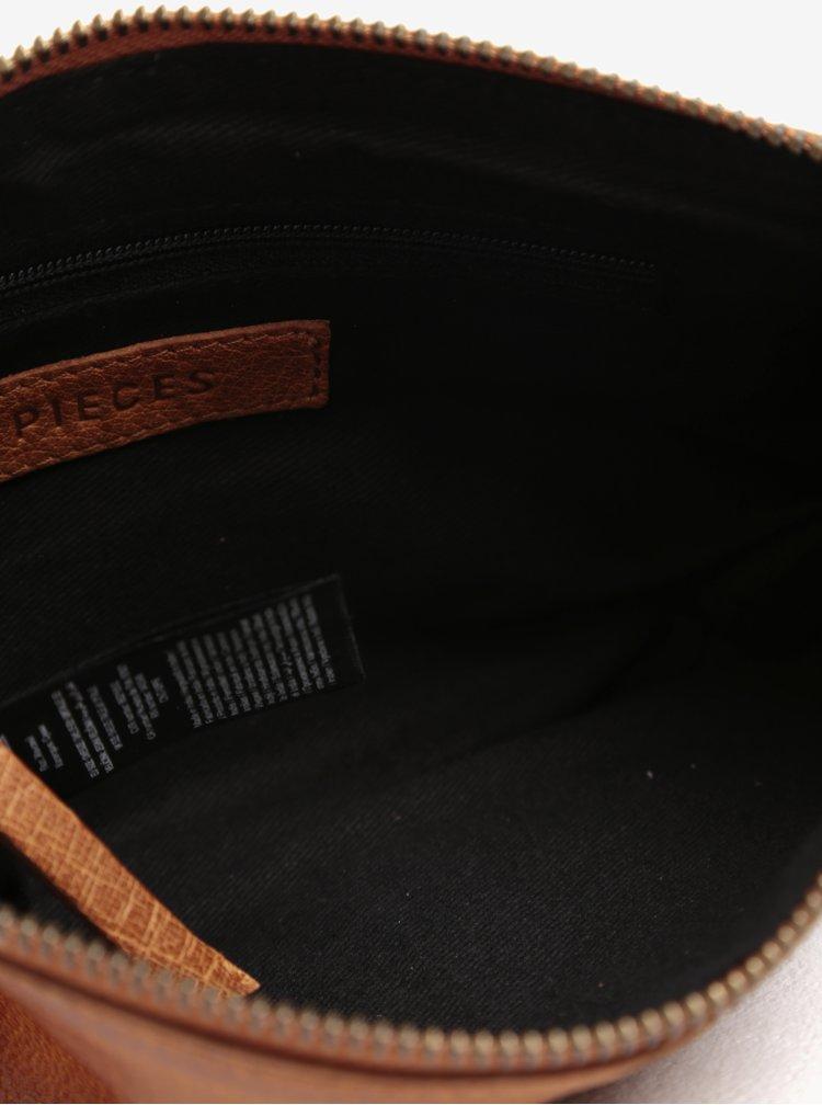Hnědá kožená crossbody kabelka Pieces Ida