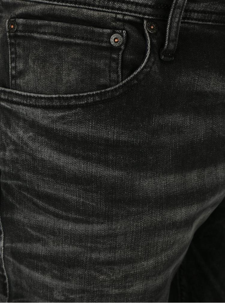 Tmavě šedé slim fit džíny s vyšisovaným efektem Jack & Jones Tim