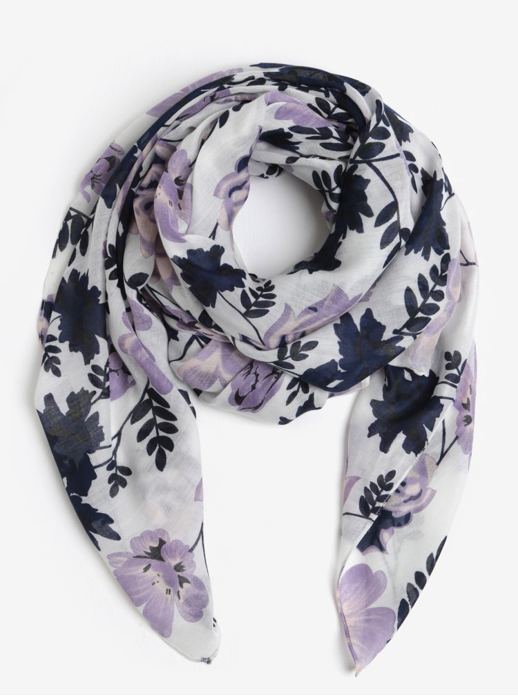 Fialovo-bílý květovaný šátek Pieces Inata
