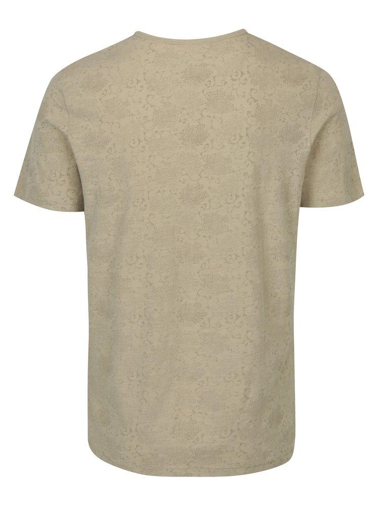 Béžové vzorované tričko s krátkým rukávem Jack & Jones Vincer