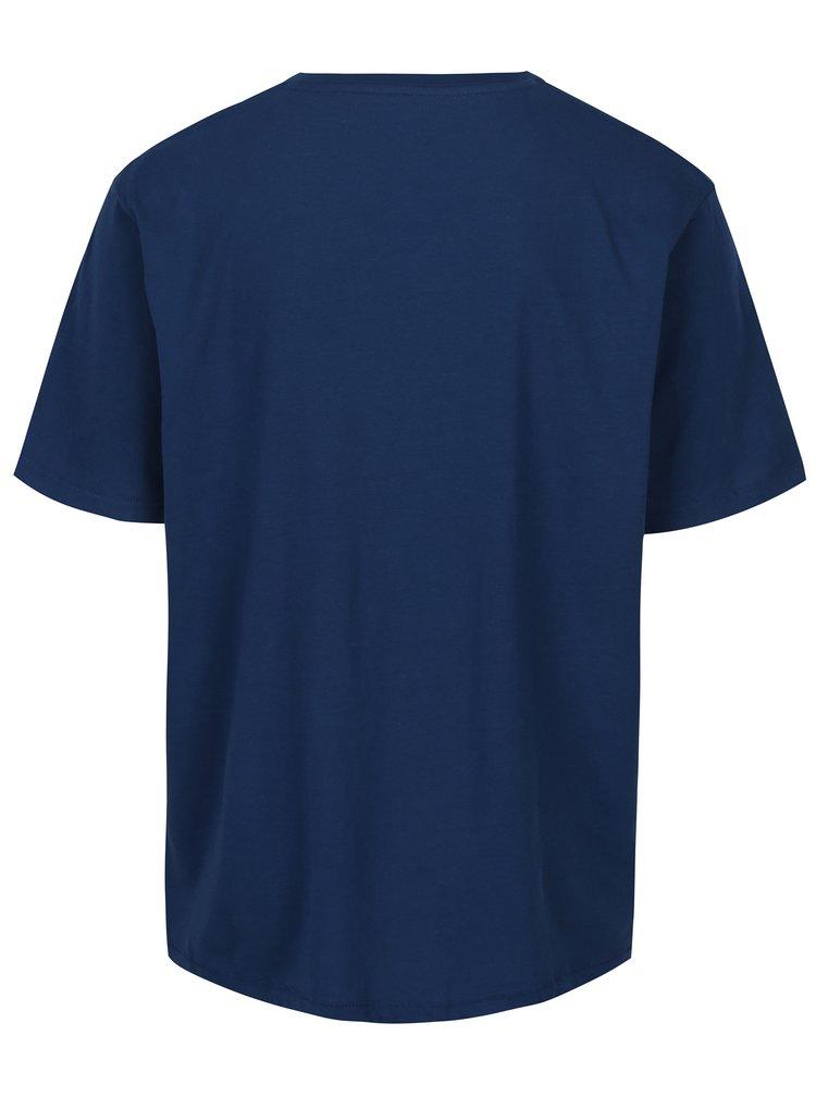 Tricou albastru cu print Jack & Jones Stencild