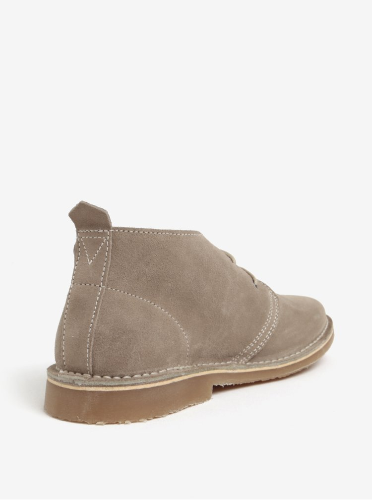 Béžové pánské semišové kotníkové boty Jack & Jones Gobi