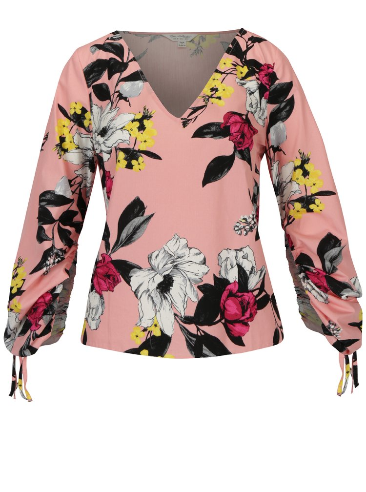 Růžová květovaná halenka Miss Selfridge