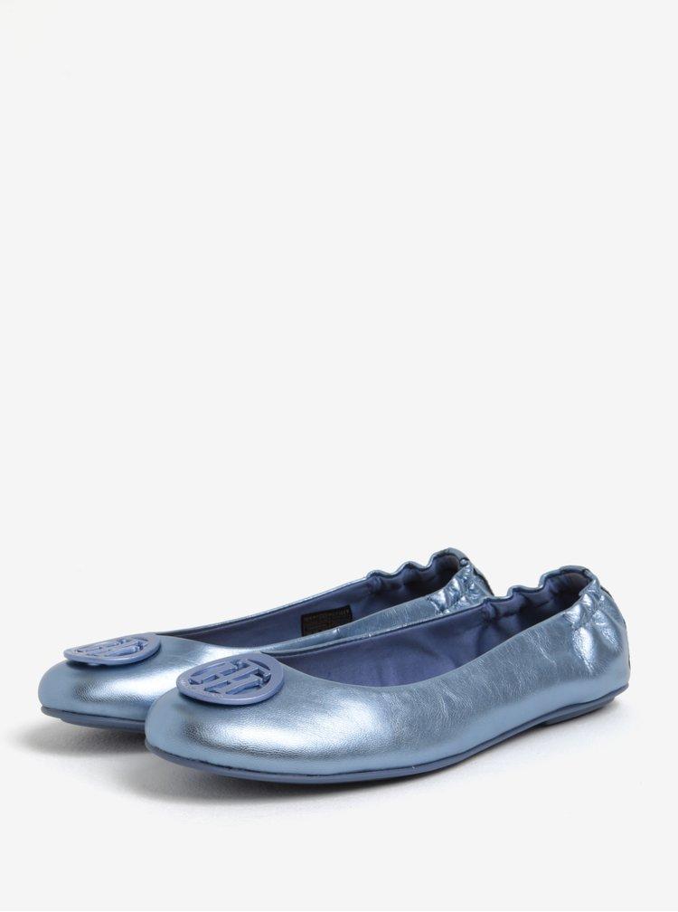 Světle modré dámské kožené baleríny Tommy Hilfiger