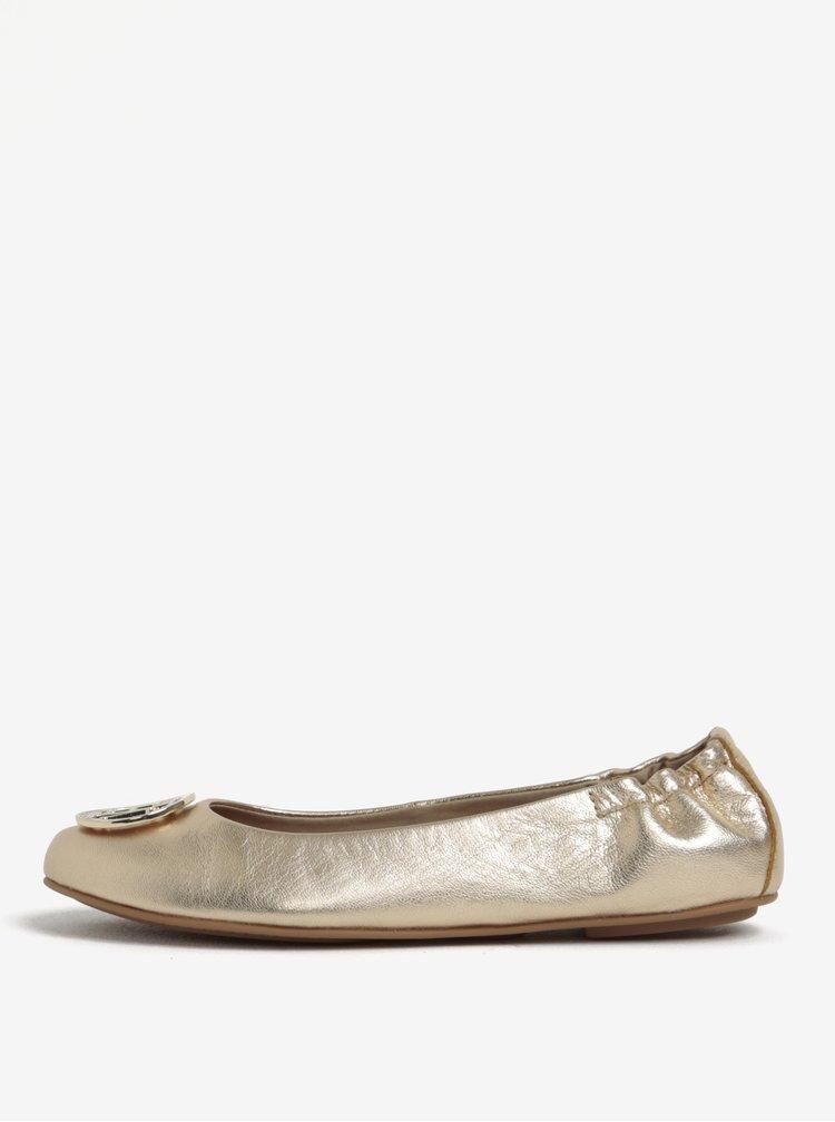 Dámské kožené baleríny ve zlaté barvě Tommy Hilfiger
