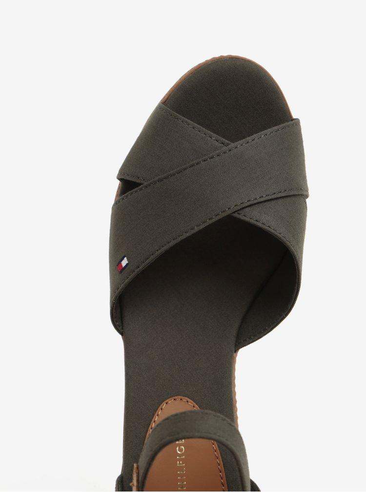 Khaki sandály na klínku Tommy Hilfiger