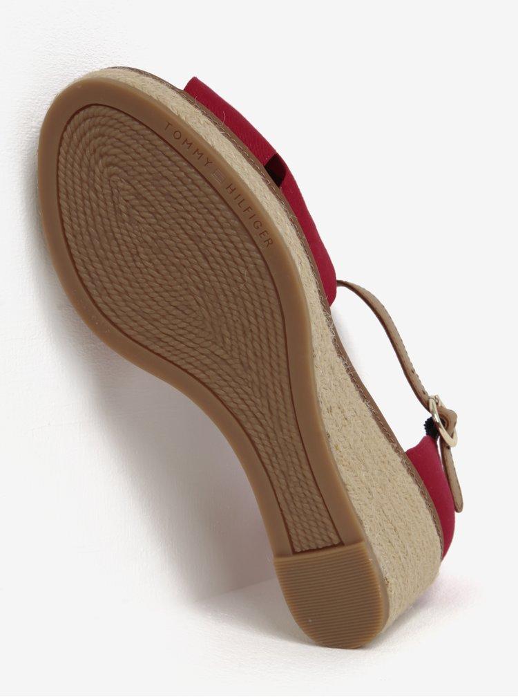 Červené sandály na klínku Tommy Hilfiger