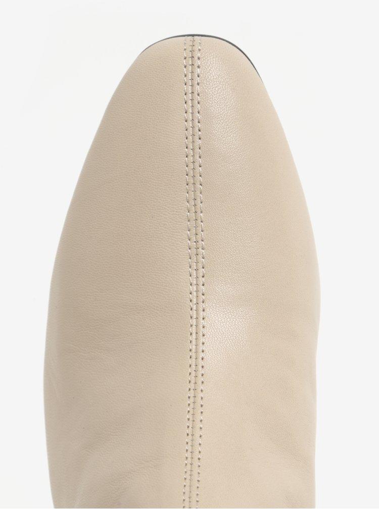 Krémové kožené kotníkové boty na podpatku Vagabond Alice