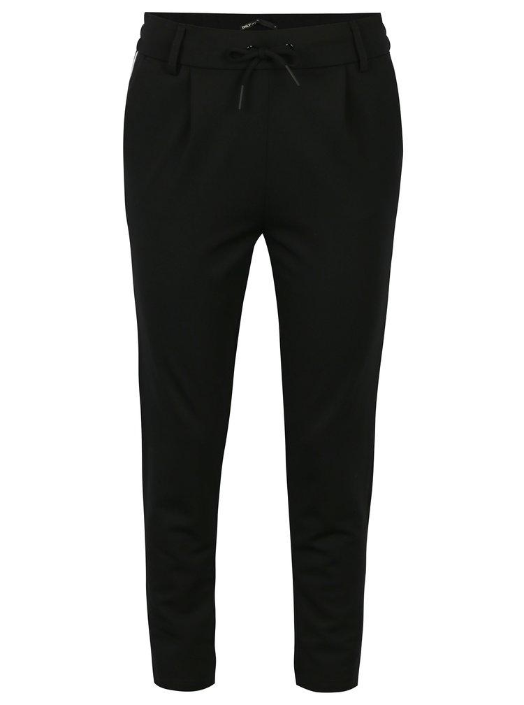 Černé kalhoty s pružným pasem ONLY Poptrash