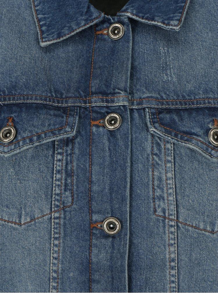 Modrá dlouhá džínová bunda ONLY Crispy