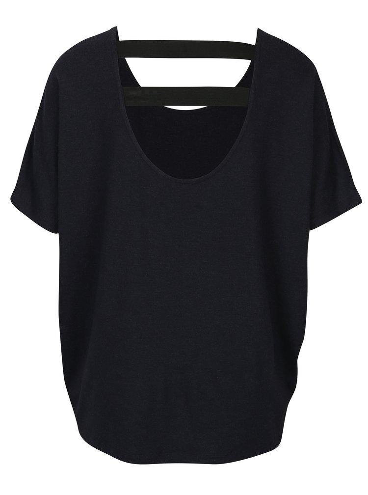 Tmavě modré oversize tričko s elastickými pásy na zádech ONLY Moster