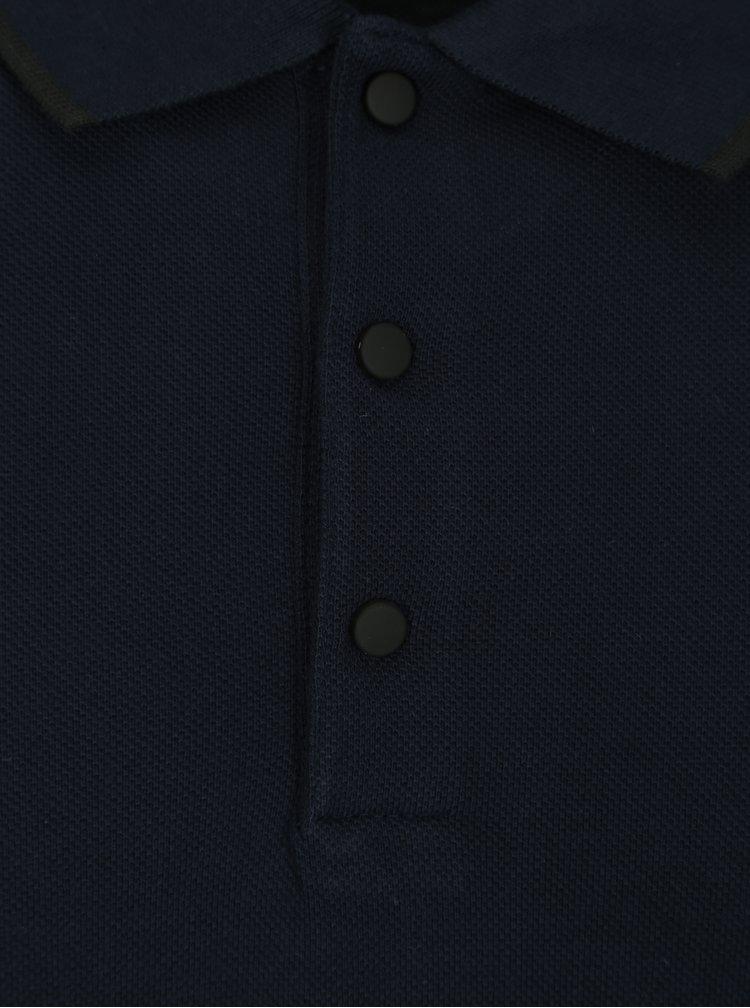 Tmavě modré polo tričko s dlouhým rukávem Selected Homme Gio