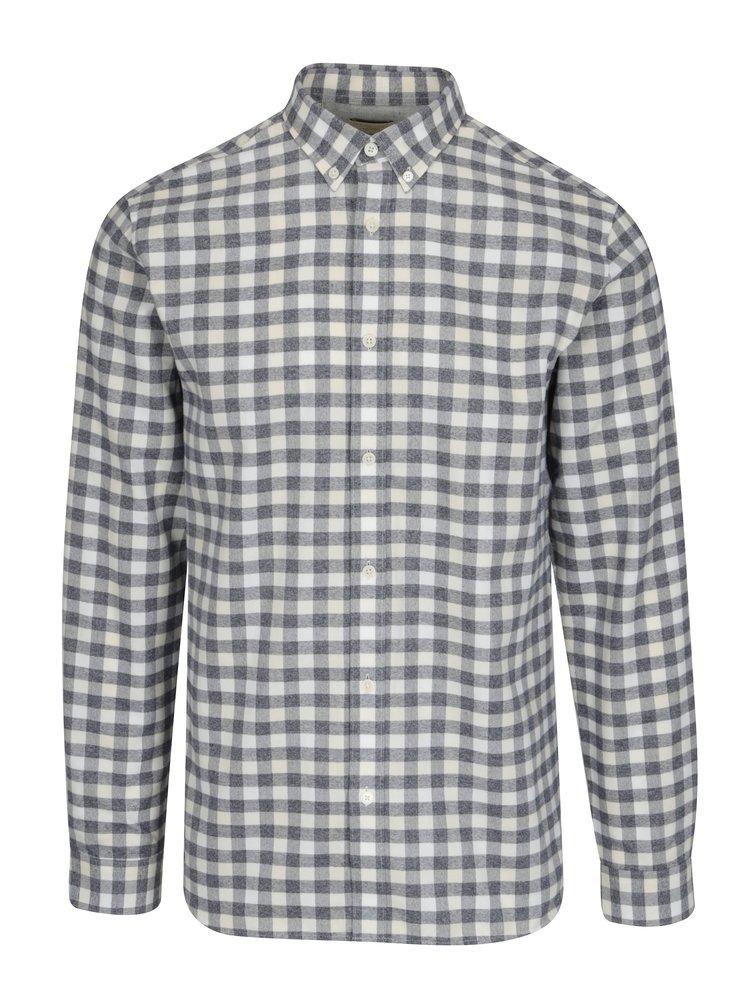 Krémová kostkovaná regular fit košile Selected Homme Two Sid
