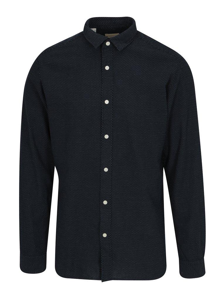 Tmavě modrá puntíkovaná slim fit košile Selected Homme One Tyler